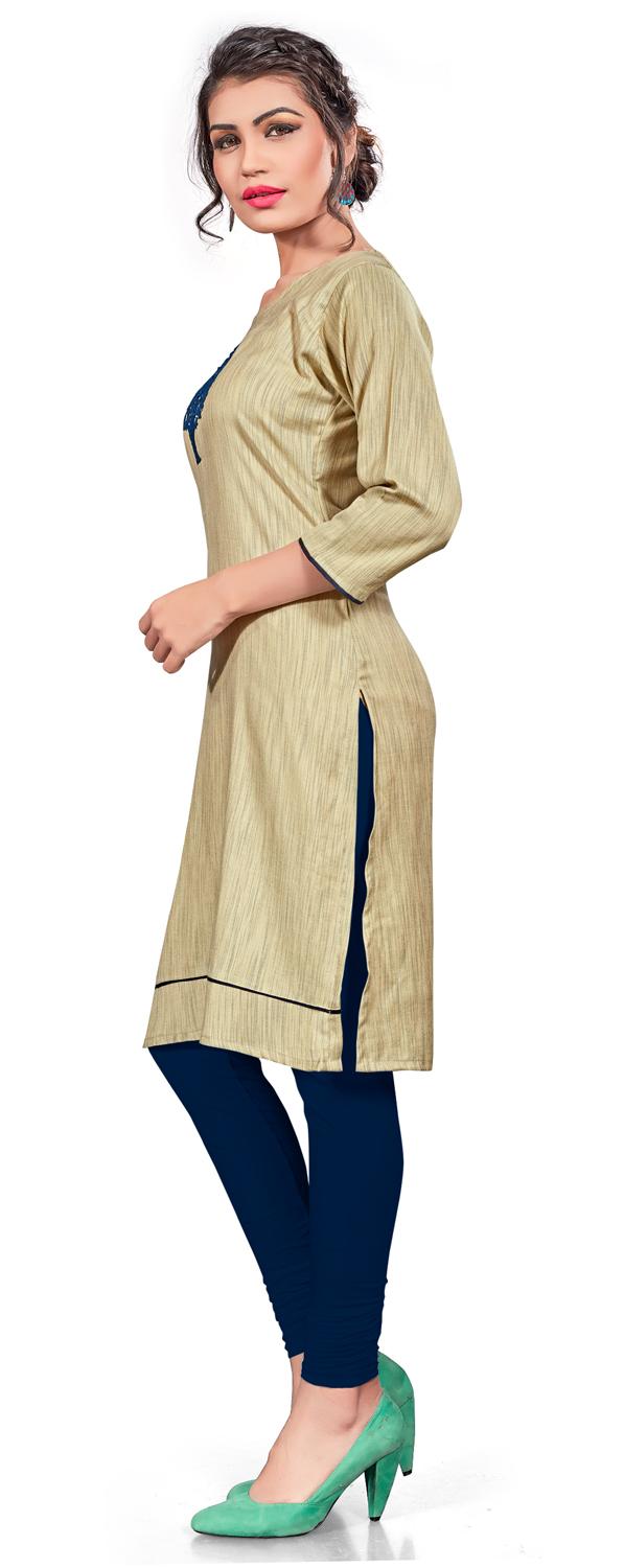 Lovely Beige Colored Embroidered Cotton Khadi Kurti