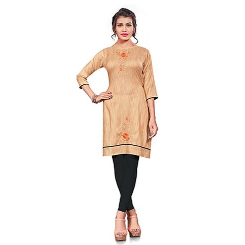 Attractive Light Orange Colored Embroidered Cotton Khadi Kurti