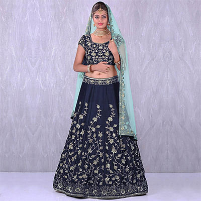 Graceful Navy Blue Colored Designer Embroidered Banglori Silk Lehenga Choli