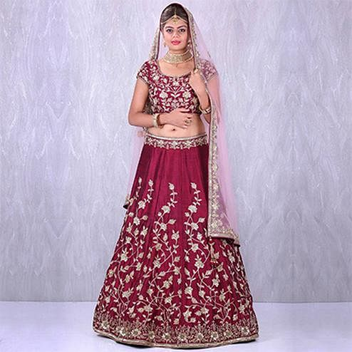 Delightful Maroon Colored Designer Embroidered Banglori Silk Lehenga Choli