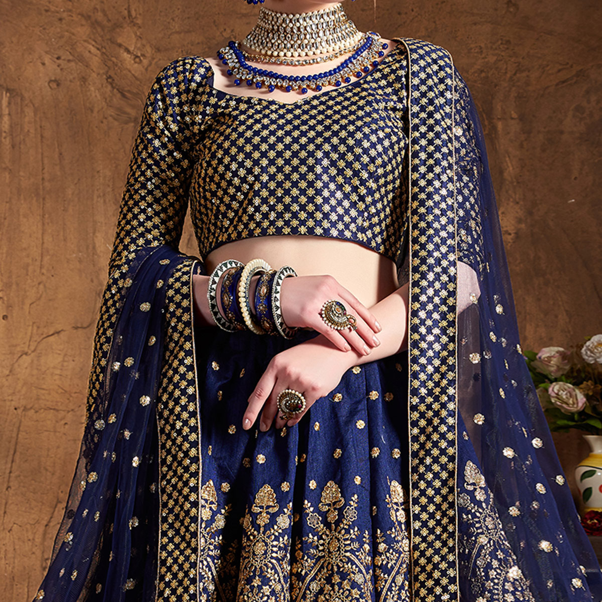 Mesmerising Blue Colored Designer Embroidered Banglori Silk Lehenga Choli