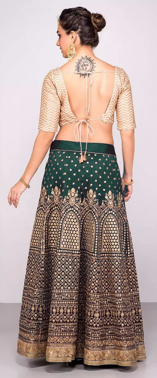 Gorgeous Green Colored Designer Embroidered Banglori Silk Lehenga Choli