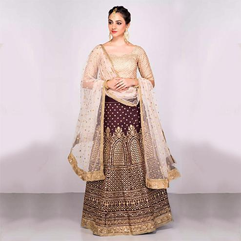 Stunning Maroon Colored Designer Embroidered Banglori Silk Lehenga Choli