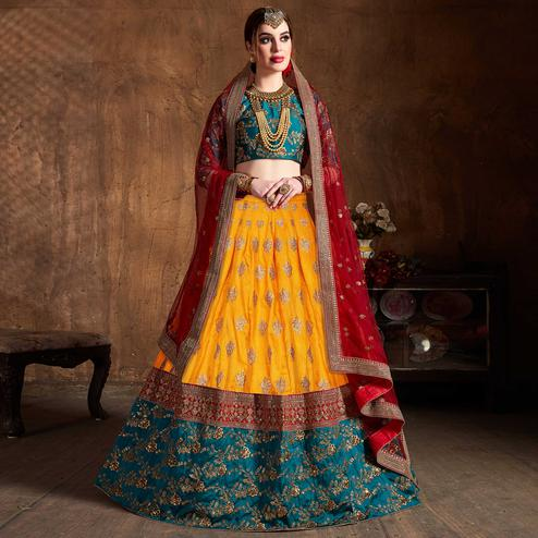 Beautiful Orange-Green Colored Designer Embroidered Banglori Silk Lehenga Choli