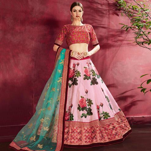Mesmerising Pink Colored Designer Digital Print And Embroidered Banglori Silk Lehenga Choli