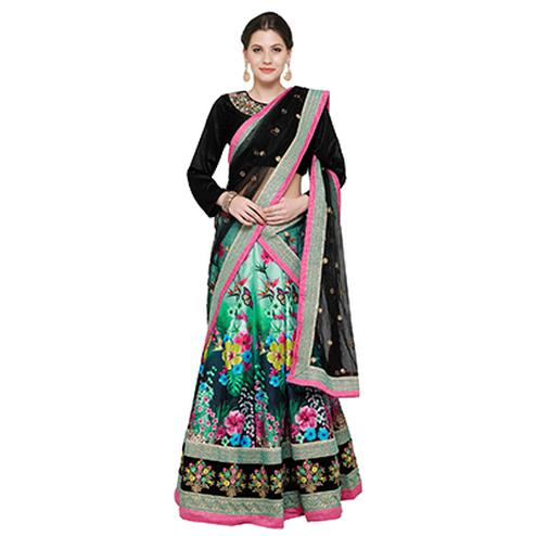 Stunning Black-Green Colored Designer Digital Print And Embroidered Banglori Silk Lehenga Choli