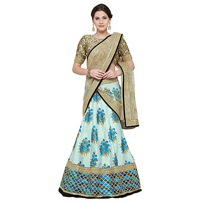 Charming Blue Colored Designer Digital Print And Embroidered Banglori Silk Lehenga Choli
