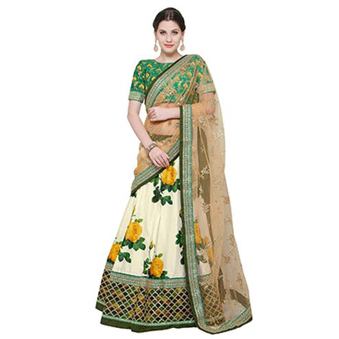 Graceful Off-White Colored Designer Digital Print And Embroidered Banglori Silk Lehenga Choli