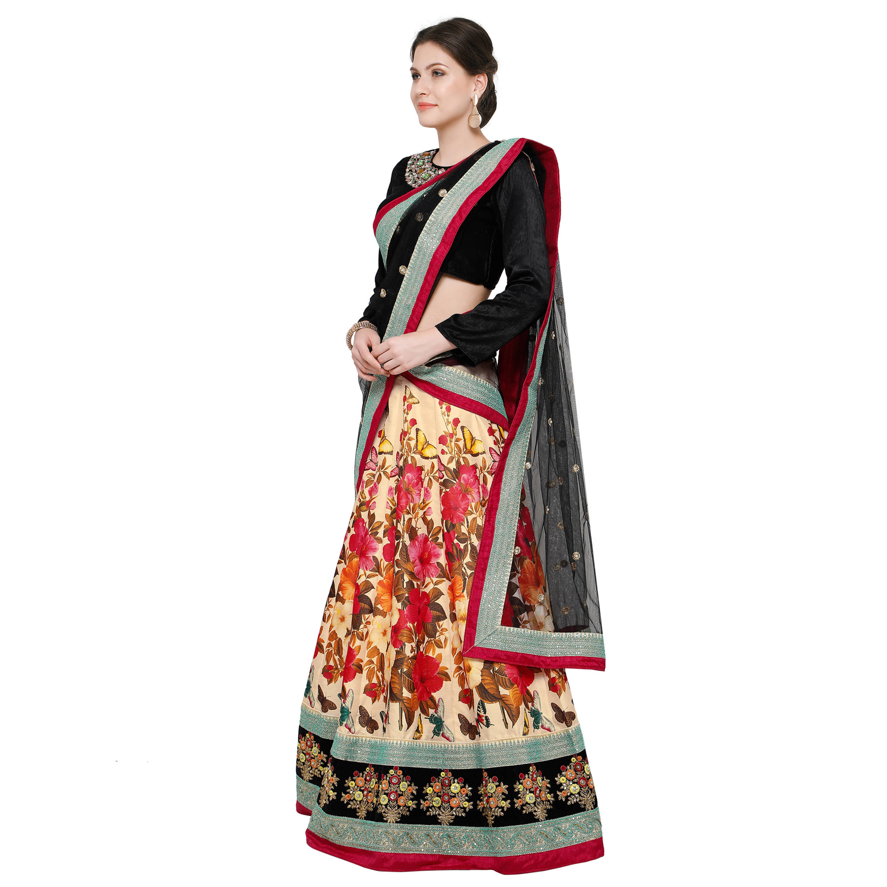 Sizzling Black-Cream Designer Digital Print And Embroidered Banglori Silk Lehenga Choli