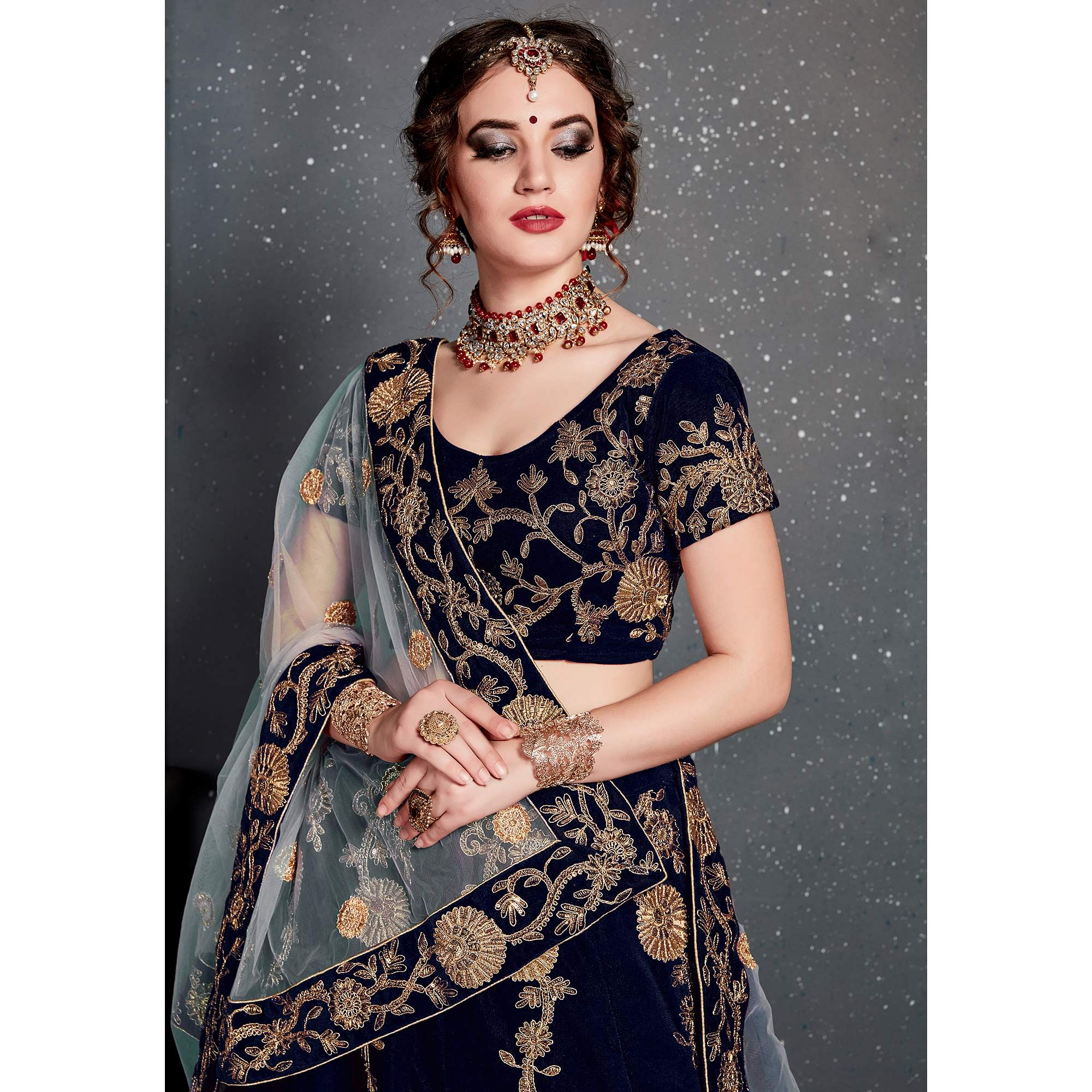 Beautiful Navy Blue Colored Partywear Designer Embroidered Velvet Lehenga Choli