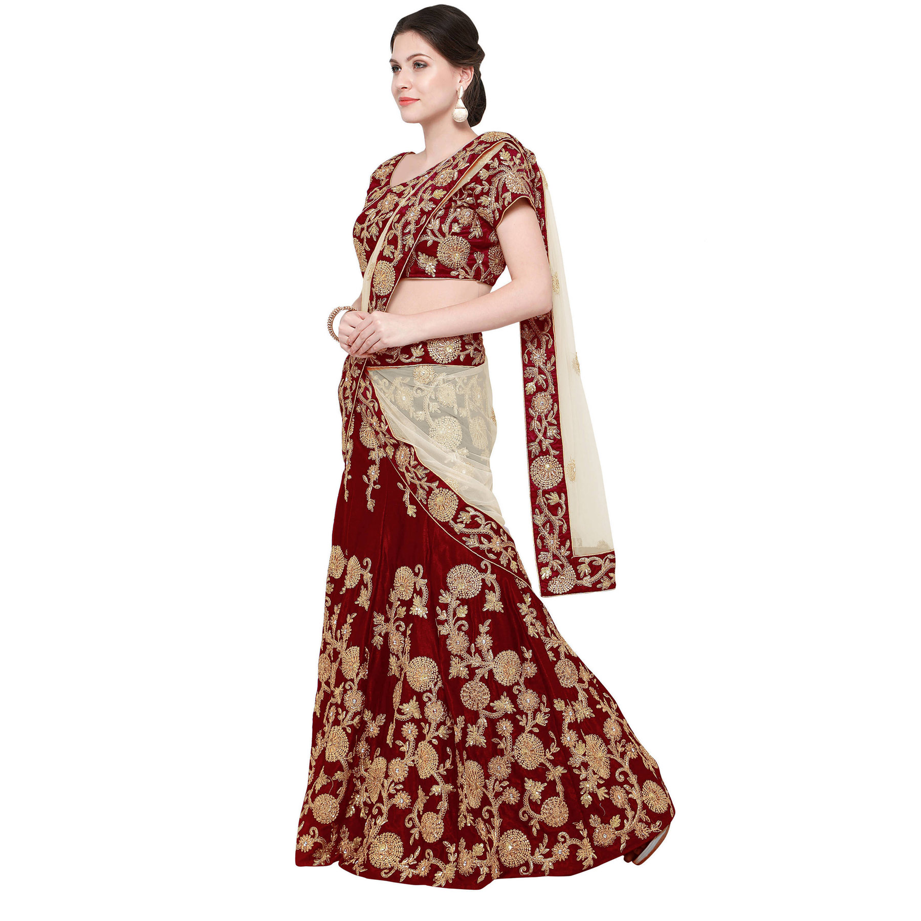 Demanding Maroon Colored Partywear Designer Embroidered Velvet Lehenga Choli