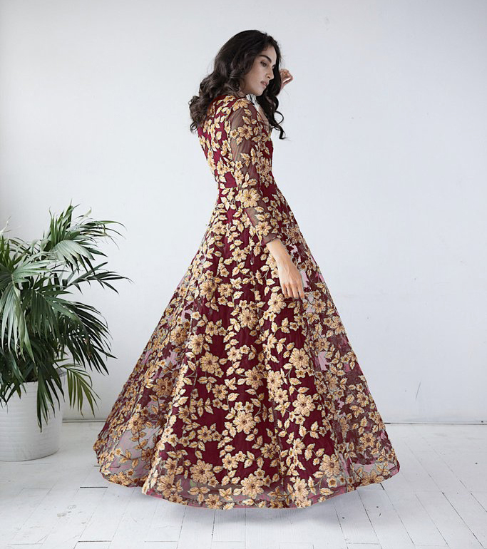 Mesmerising Maroon Colored  Designer Partywear Embroidered Net Gown
