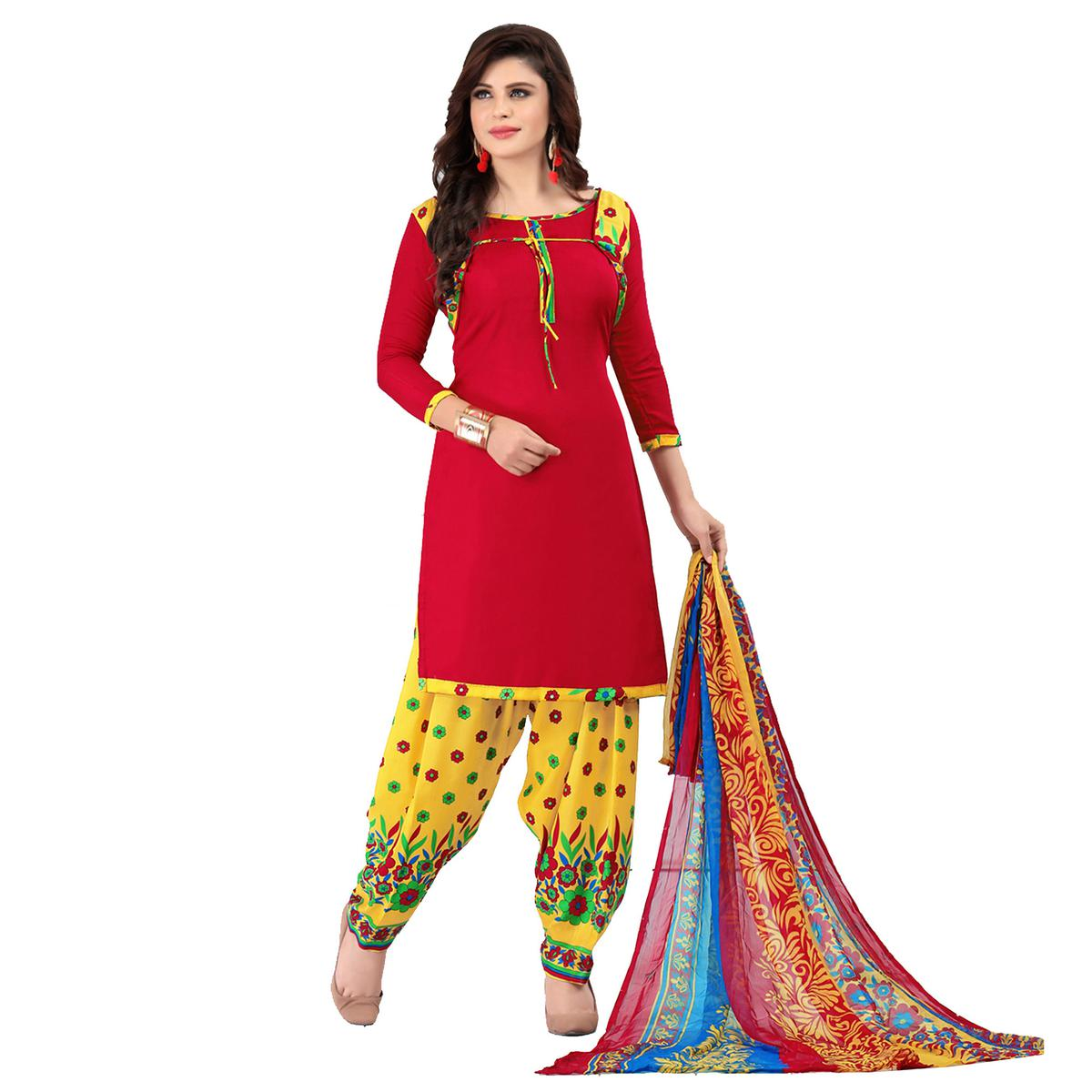 Sizzling Red Cotton Printed Casual Dress Material