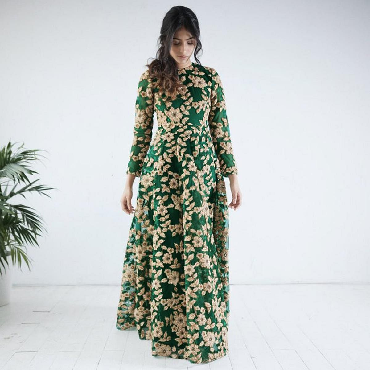 Gorgeous Green Colored Designer Partywear Embroidered Net Gown