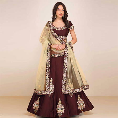 Groovy Maroon Colored Designer Embroidered Tapeta Silk Lehenga Choli