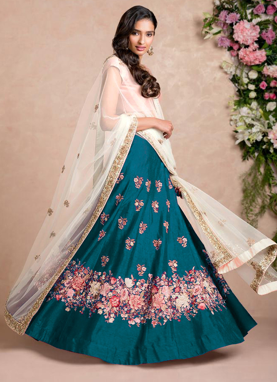 Stunning Rama Green Colored Floral Embroidered Banglori Silk Lehenga Choli