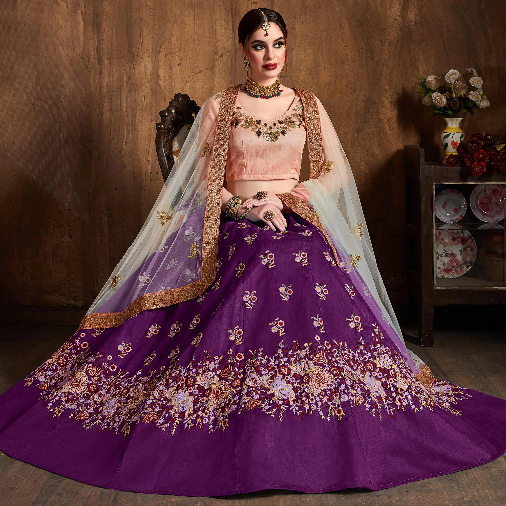 Stunning Purple Colored Floral Embroidered Banglori Silk Lehenga Choli