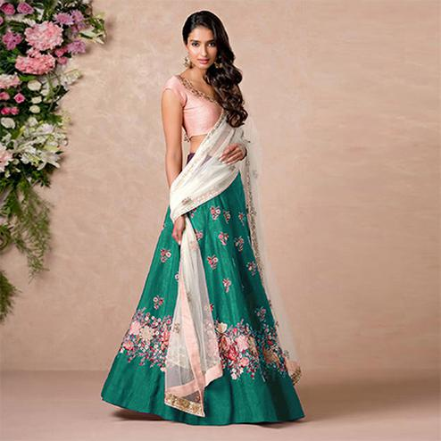 Eye-Catching Green Colored Floral Embroidered Banglori Silk Lehenga Choli