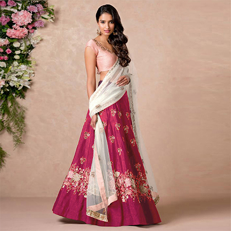 Perfect Pink Colored Floral Embroidered Banglori Silk Lehenga Choli