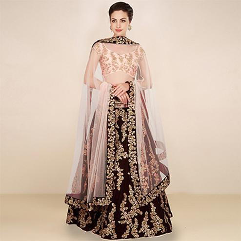 Lovely Maroon - Light Pink Colored Designer Embroidered Velvet Lehenga Choli