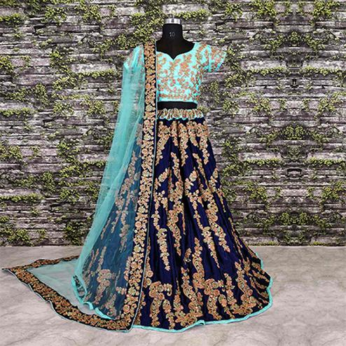 Invaluable Navy Blue Colored Designer Embroidered Velvet Lehenga Choli