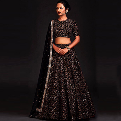 Smart Black Colored Designer Heavy Embroidered Raw Silk Lehenga