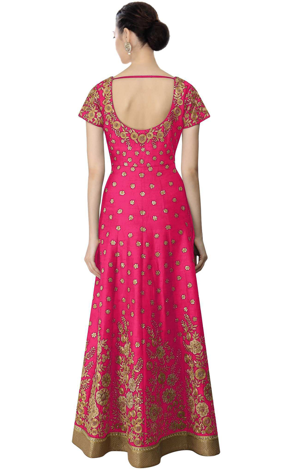 Adorable Pink Colored Partywear Embroidered Banglori Silk Anarkali Suit