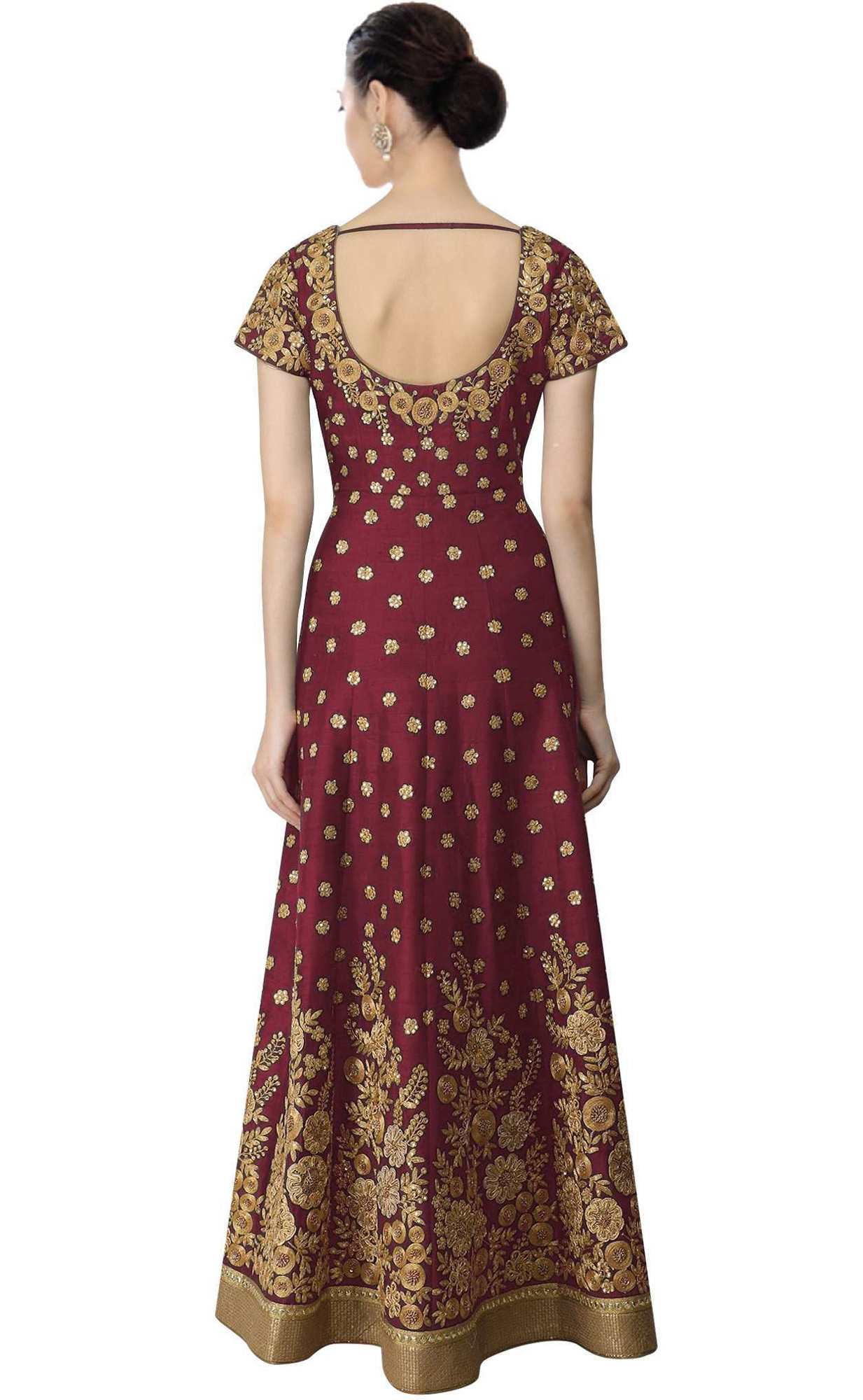 Gorgeous Maroon Colored Partywear Embroidered Banglori Silk Anarkali Suit