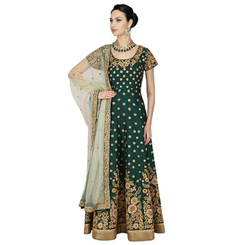 Mesmerising Green Colored Partywear Embroidered Banglori Silk Anarkali Suit