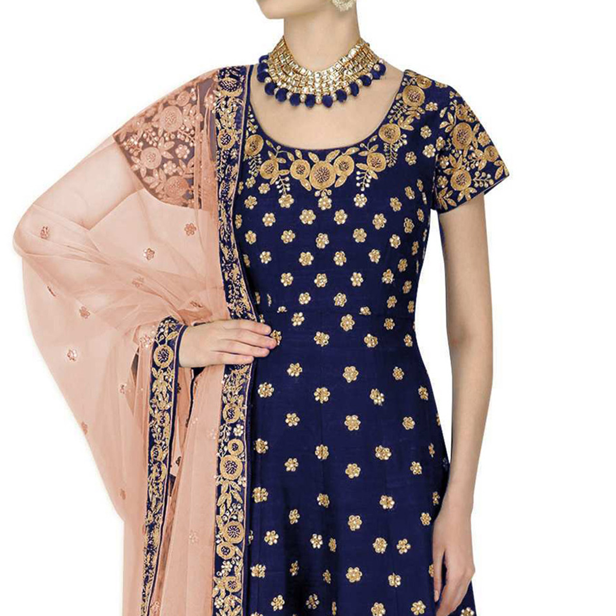 Stunning Navy Blue Colored Partywear Embroidered Banglori Silk Anarkali Suit