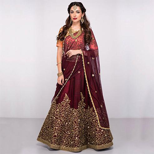 Trendy Maroon Colored Partywear Designer Embroidered Silk Lehenga Choli