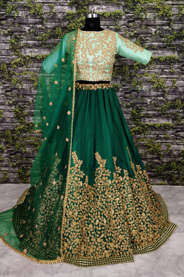 Refreshing Green Colored Partywear Designer Embroidered Silk Lehenga Choli