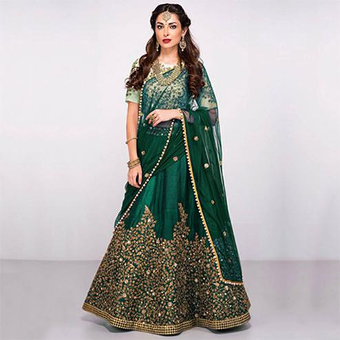 Refreshing Green Colored Partywear Designer Embroidered Pure Silk Lehenga Choli