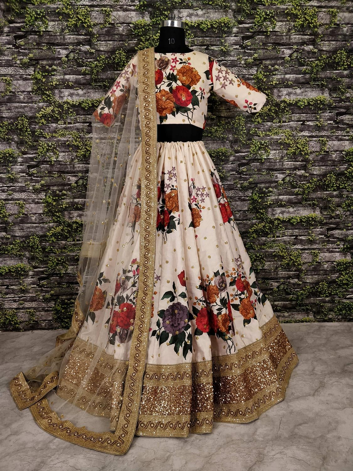 Jazzy Off-White Colored Partywear Digital Printed-Embroidered Art Silk Lehenga Choli