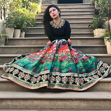 Sizzling Black Colored Partywear Digital Printed-Embroidered Art Silk Lehenga Choli