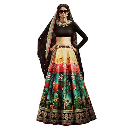 Flirty Black Colored Partywear Designer Embroidered Art Silk Lehenga Choli
