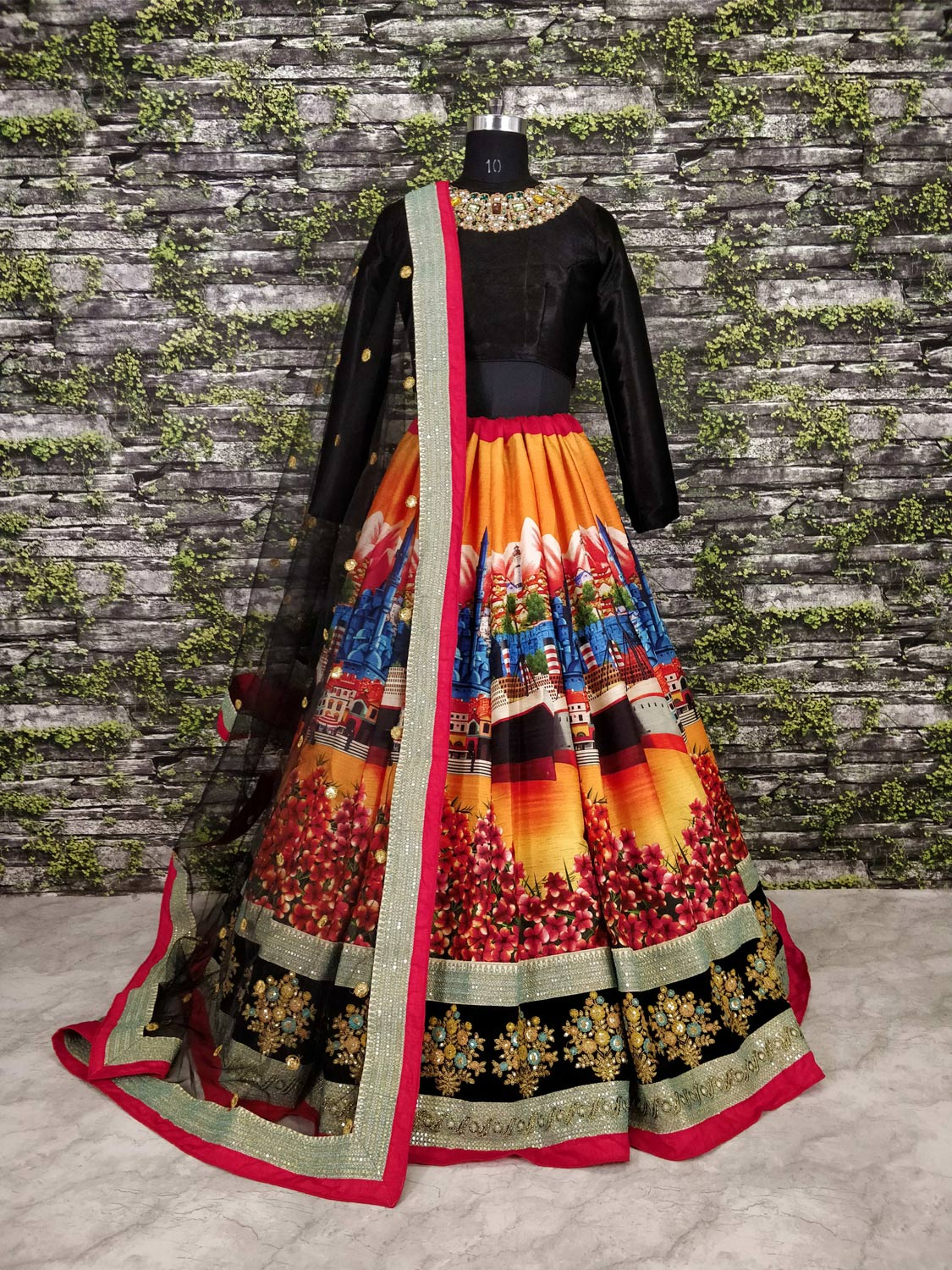 Desiring Black Colored Partywear Designer Embroidered Art Silk Lehenga Choli