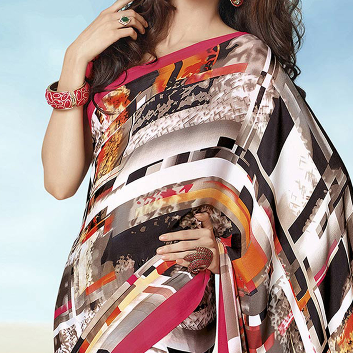 Trendy Multi Colored Casual Wear Printed Crape Saree