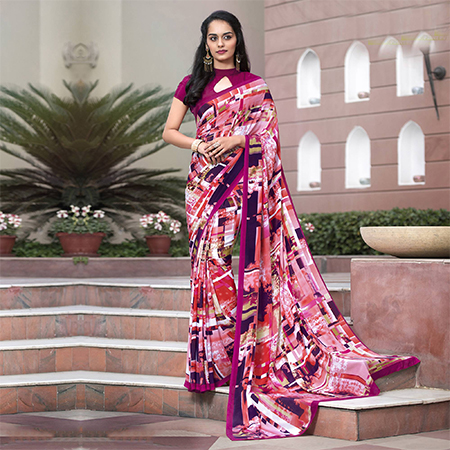 Cool Pink Colored Casual Wear Printed Crape Saree
