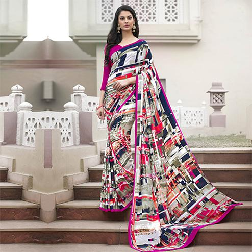 Classy Multi-Pink Colored Casual Wear Printed Crape Saree