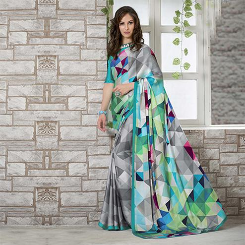 Snazzy Grey-Turquoise Colored Casual Wear Printed Crape Saree