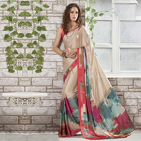 Pretty Beige-Orange Colored Casual Wear Printed Crape Saree