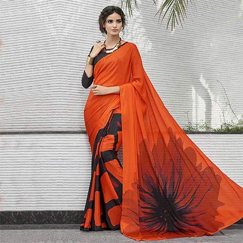 Perfect Orange Colored Casual Wear Printed Crape Saree