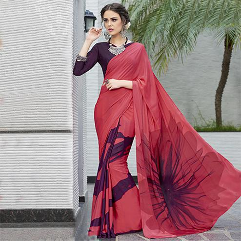 Deserving Crimson Red Colored Casual Wear Printed Crape Saree