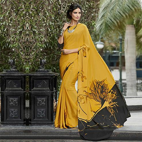 Awesome Yellow Colored Casual Wear Printed Crape Saree