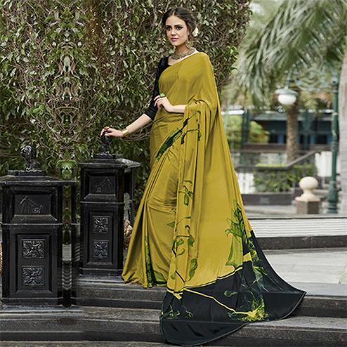 Precious Olive Green Colored Casual Wear Printed Crape Saree