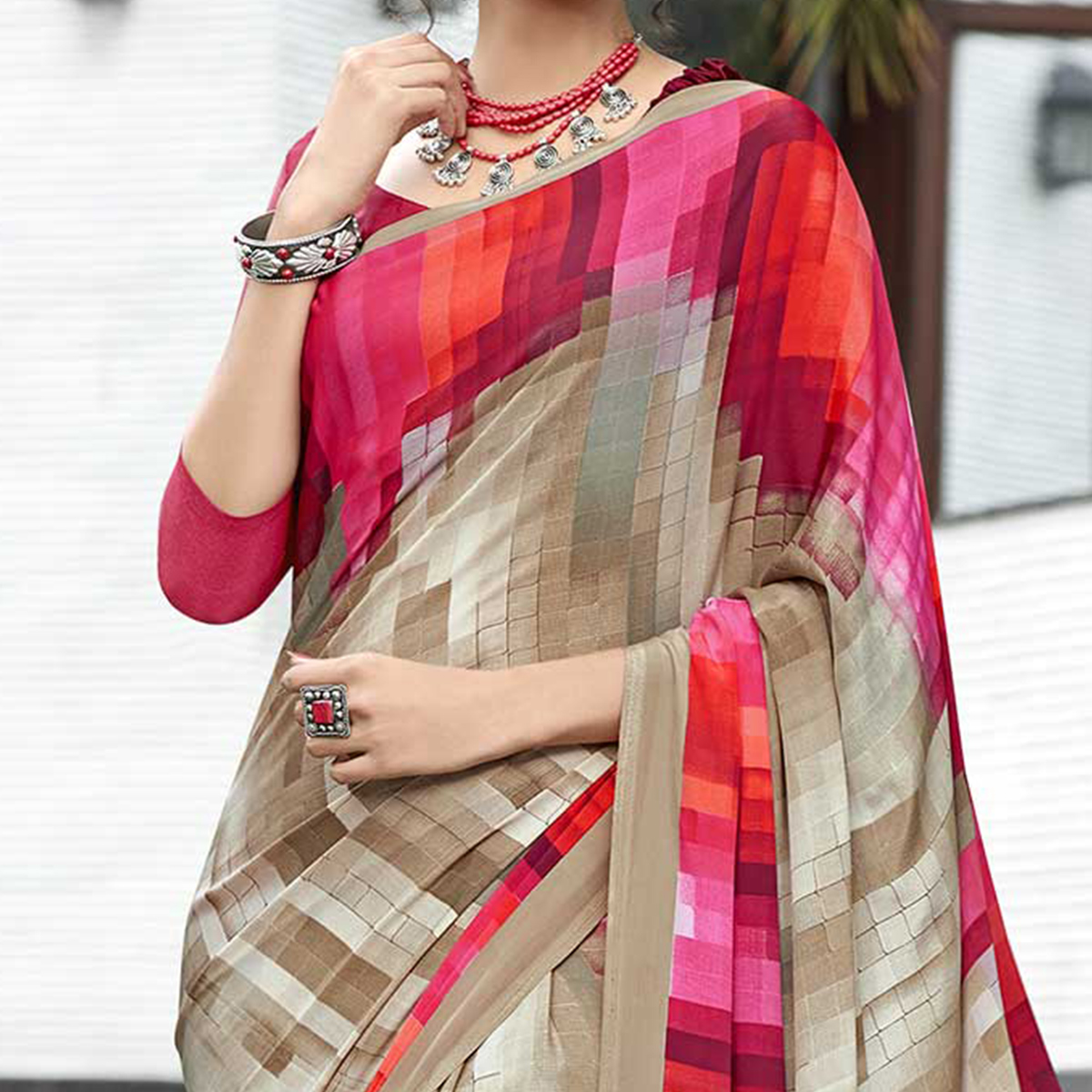Eye-catching Beige-Pink Colored Casual Wear Printed Crape Saree
