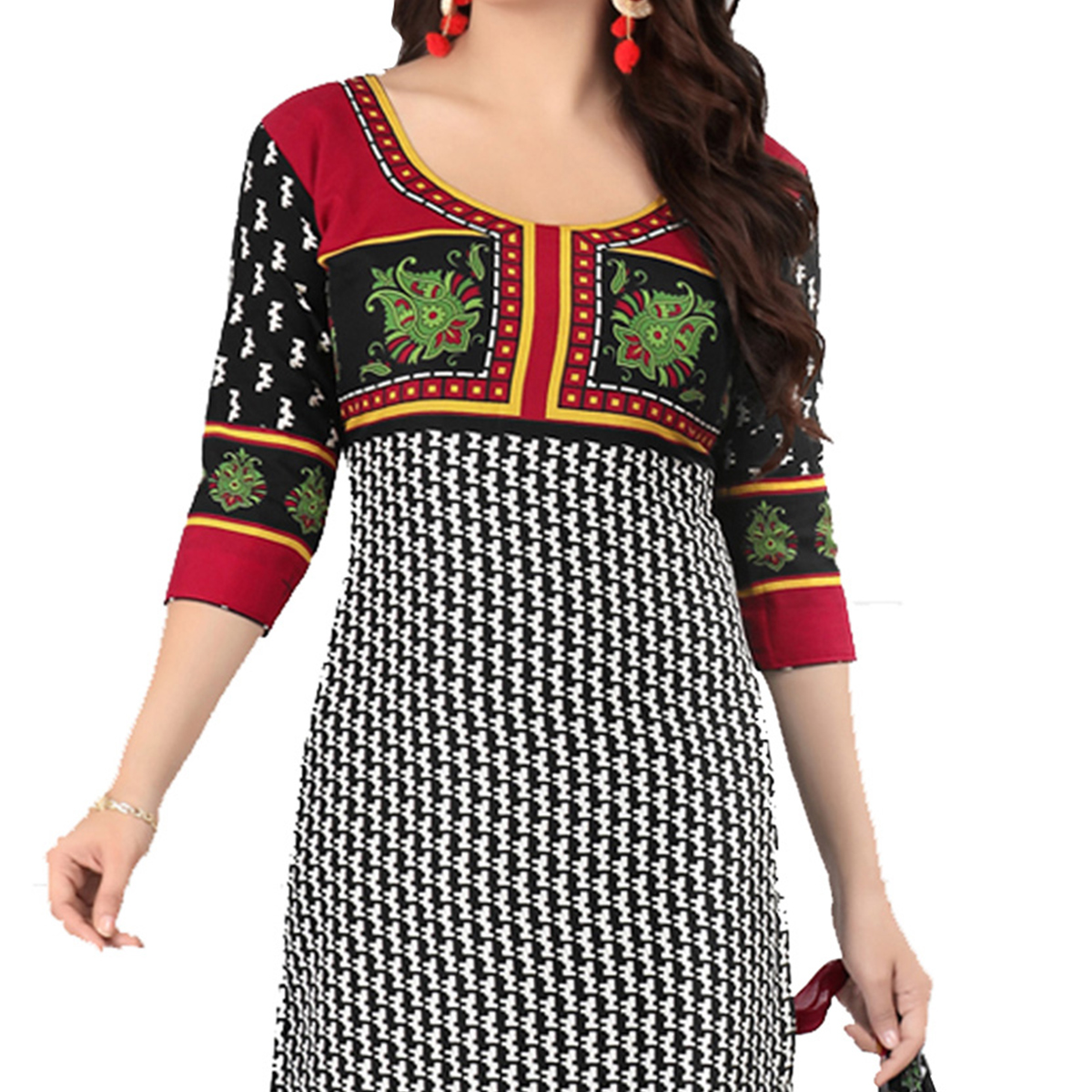 Delightful Black Cotton Printed Casual Dress Material
