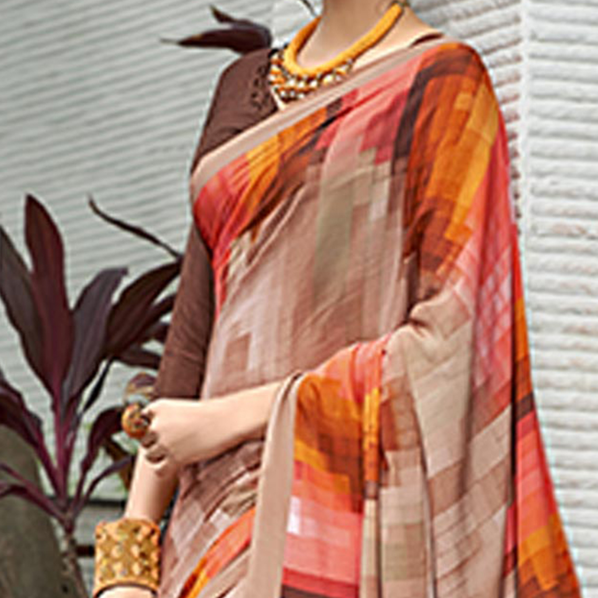 Pleasant Light Brown Colored Casual Wear Printed Crape Saree
