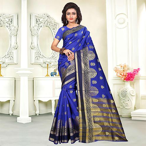 Attractive Blue Colored Festive Wear Woven Art Silk Saree